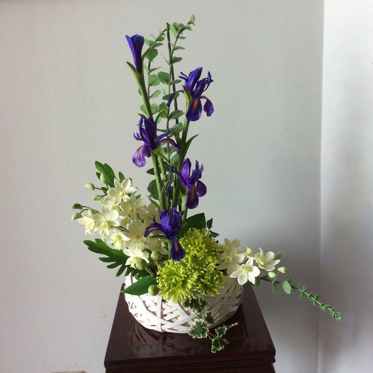 Irises and chrysanthemums