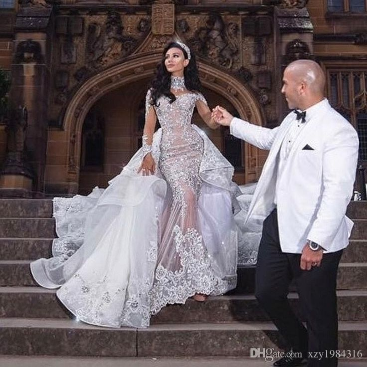 Luxurious Rhinestone Crystal Wedding Dress High Neck Beads Applique Long Sleeves Mermaid Bridal Dress Gorgeous Dubai Wedding Gown Overskirt Pink Wedding Dress Princess Wedding Dresses From Xzy1984316, $733.67| DHgate.Com