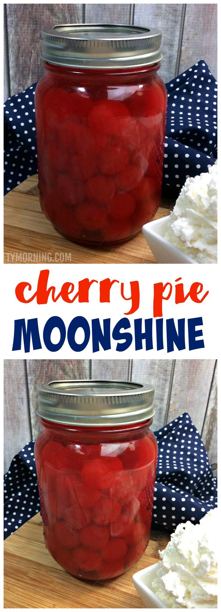 YUM!! Cherry pie moonshine recipe to make! Fun alcoholic drink for the summer or 4th of july.