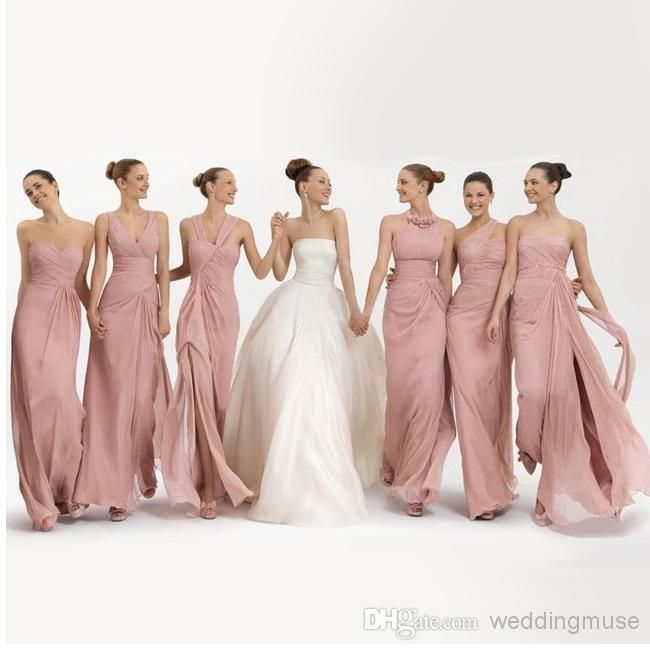 Wholesale Bridesmaid Dresses - Buy Cheap A-line Pleats 6 Kinds Of Styles Floor Length Skin Pink Chiffon Prom Party Gowns 2014 Beach Bridesmaid Dresses Under $50 DL1311197, $46.08   DHgate