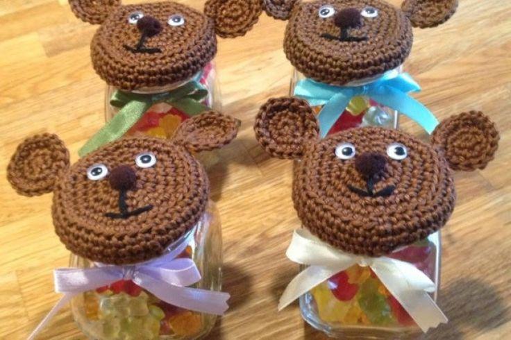 Teddy Bear Jar Lid Free Crochet Pattern