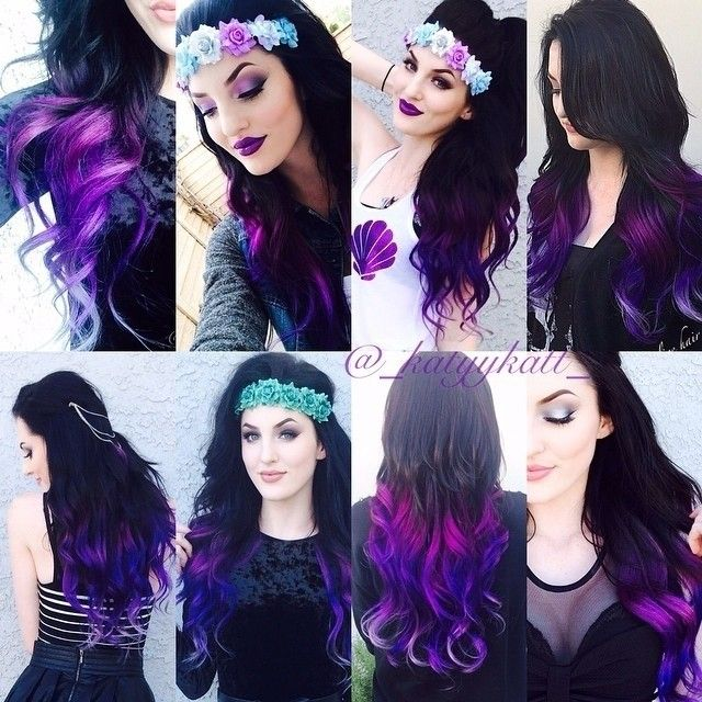 Black to Purple Mermaid Colorful Ombre Hair~ with Romantic beach waves~ natural and beautiful~