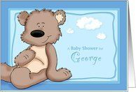 George - Teddy Bear Baby Shower Invitation Card by Greeting Card Universe. $3.00. 5 x 7 inch premium quality folded paper greeting card. Baby Shower invitations to celebrate any upcoming event are available at Greeting Card Universe. Show your loved ones you care with a custom invitation to celebrate your event. Turn to Greeting Card Universe for all your Baby Shower invitation needs. This paper card includes the following themes: George, personalized baby boy baby shower...