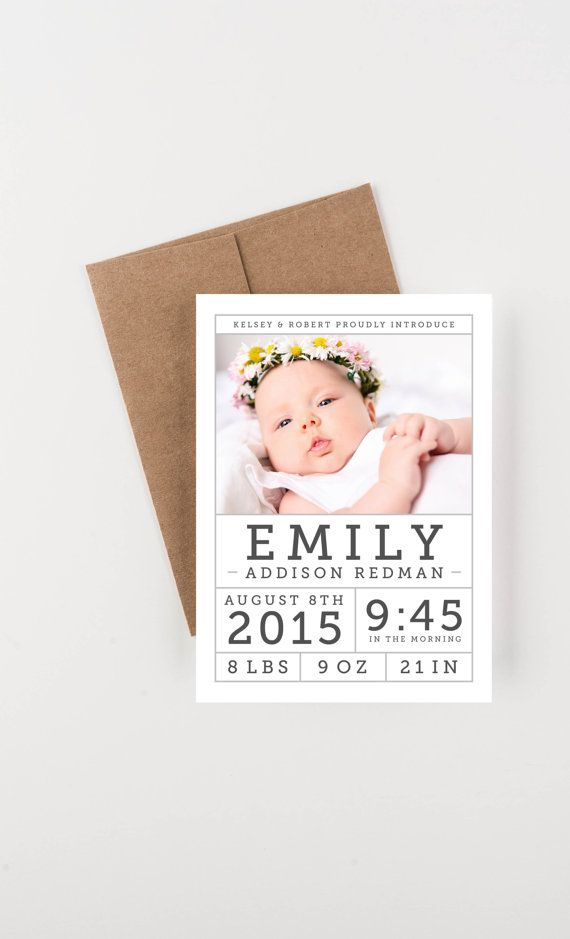 Photo Birth Announcement Modern Baby Girl or por seahorsebendpress
