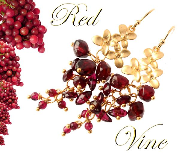 Earrings – RED RED WIN E - Garnet, Gold Plate d – a unique product by STEINREICH-UND-SCHOEN on DaWanda
