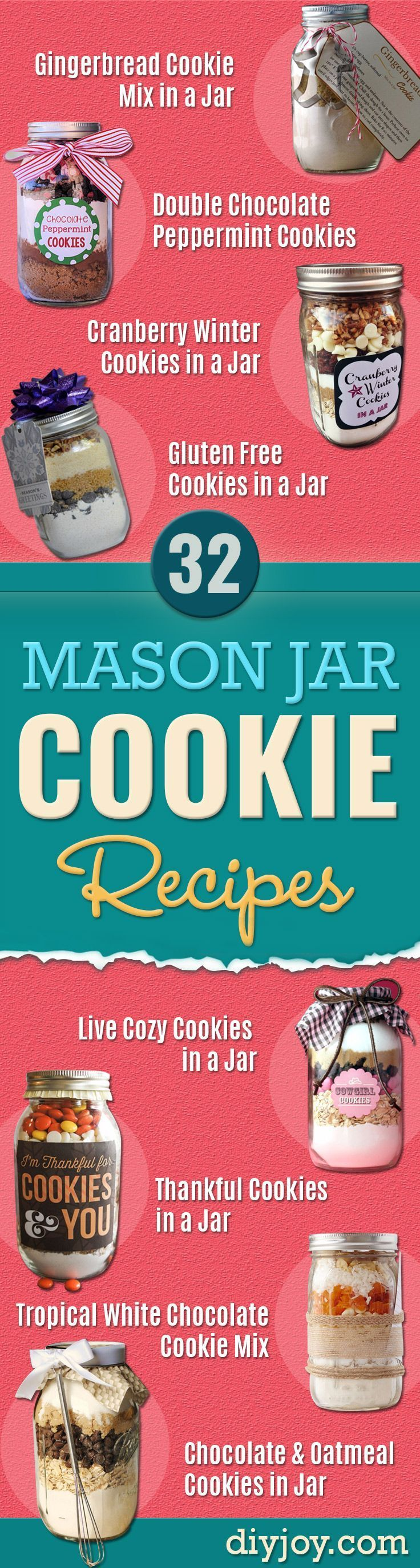 Best Mason Jar Cookies - Mason Jar Cookie Recipe Mix for Cute Decorated DIY Gifts - Easy Chocolate Chip Recipes, Christmas Presents and Wedding Favors in Mason Jars - Fun Ideas for DIY Parties and Cheap LAst Mintue Gift Ideas for Friends, Family and Neighbors http://diyjoy.com/best-mason-jar-cookie-recipes