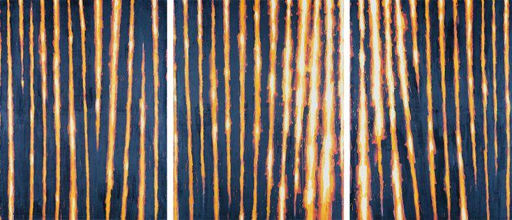 """Leon Tarasewicz, """"Bez tytułu"""" 1987, olej, płótno, 3 x (190x130 cm)"""