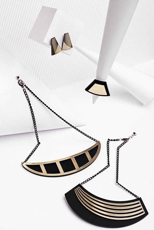 """Jewelry collection """"Golden rule"""" by Rename.   Laser cut black and gold perspex jewelry"""