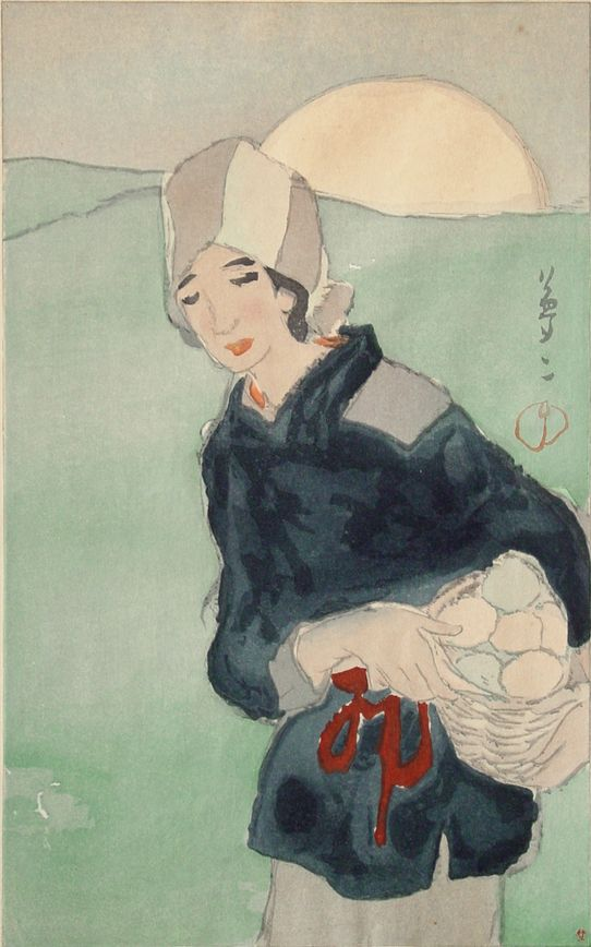 """By Takehisa Yumeji (1884-1934), 1913, """"The Rising Moon"""" from the series """"A Collection of Takehisa Yumeji's Pictures"""", Woodblock."""