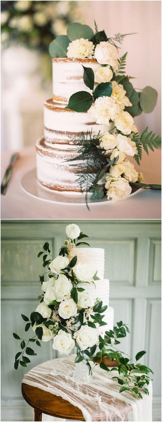 Greenery wedding cake idea #weddings #weddingcakes #cakes ❤️ http://www.deerpearlflowers.com/wedding-cake-trends/