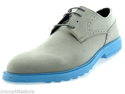 Details about Mens Dress Shoes Mock Suede Oxford Lace Up Grey ...