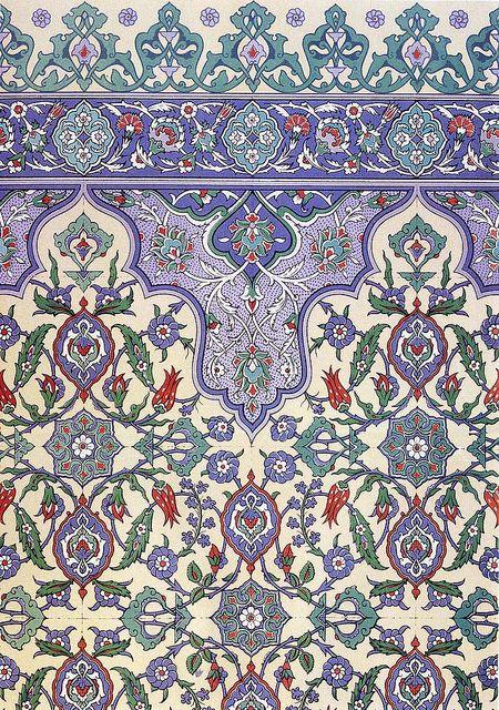 Wall tiling decoration 17th century, via Flickr.