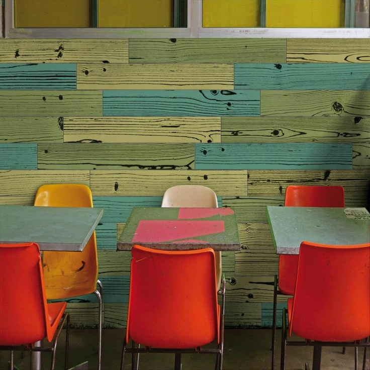 Colourful wall using coloured timber-look tiles #signorinotilegallery #woodtiles #timbertiles
