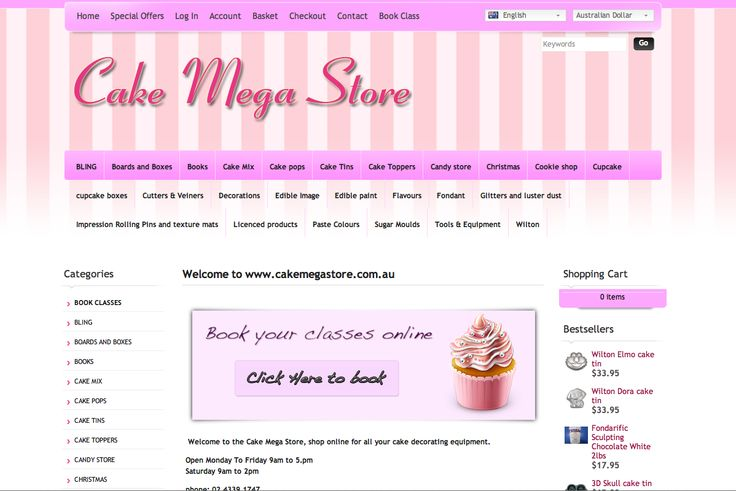 Cake Megastore - web design Central Coast Bullet Websites