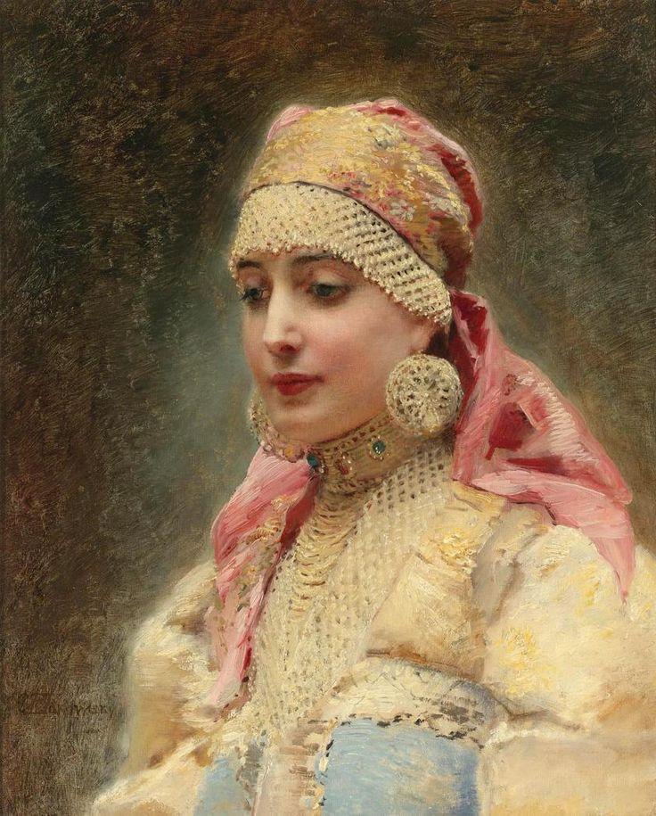 Boyaryshnya, Konstantin Yegorovich Makovsky / (Konstantin Makovsky Ye). Russian (1839 - 1915)