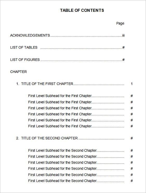 20 Table Of Contents Template Table Of Contents