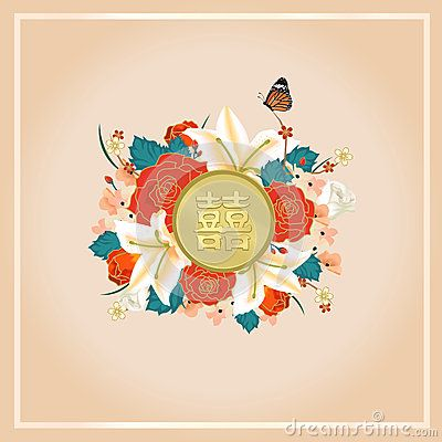 Chinese wedding card invitation with Chinese text [Double happiness] in ancient chinese theme
