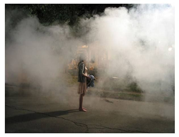 "17 & GONE inspiration: A girl shrouded in smoke; lost her shoes. (""Untitled"" by Gregory Crewdson)"