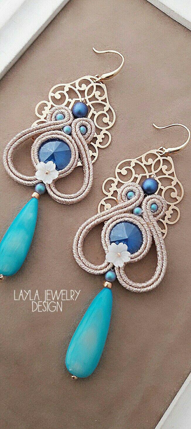 Soutache earrings with Swarovski by Layla Jewelry