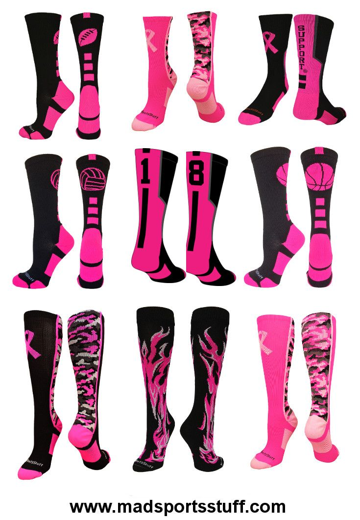MadSportsStuff has the largest selection of pink ribbon breast cancer awareness socks.  We have crew and over the calf styles for football, basketball, softball, volleyball, soccer, baseball, cheer, lacrosse and more!