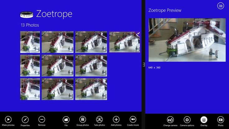 Zoetrope // Easily create stop motion movies or slideshows from still photographs, a webcam, or connected camera. Zoetrope helps you create that perfect animation of your Lego creation or any other series of photographs to make a stop motion animation.