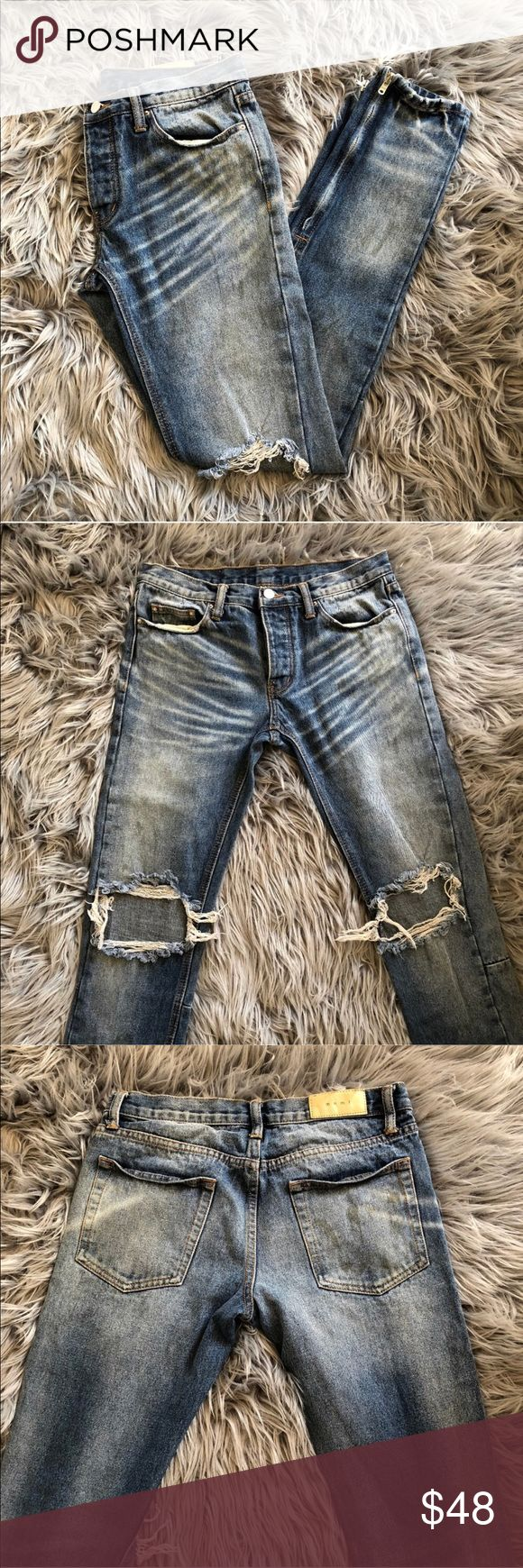 MNML LA Distressed Ripped Vintage Wash Blue Jeans Has vintage wash like Saint Laurent SLP and Zipper bottom like Fear of God FOG. Best of both worlds in one!  Size: 30 Width x 32 Length Condition:  9/10  * Ships within 24 hours or less EXCLUDING weekends. Submitted offers will be responded ONLY!   Prada Louis Vuitton Chanel Goyard LV Luluemon Burberry Hermes Berkin Nike Purse Adidas Yeezy Supreme Bape Box Logo Jacket Zara HM Luxury YSL Saint Laurent Versace Balmain Amiri Gucci Monogram Demin…