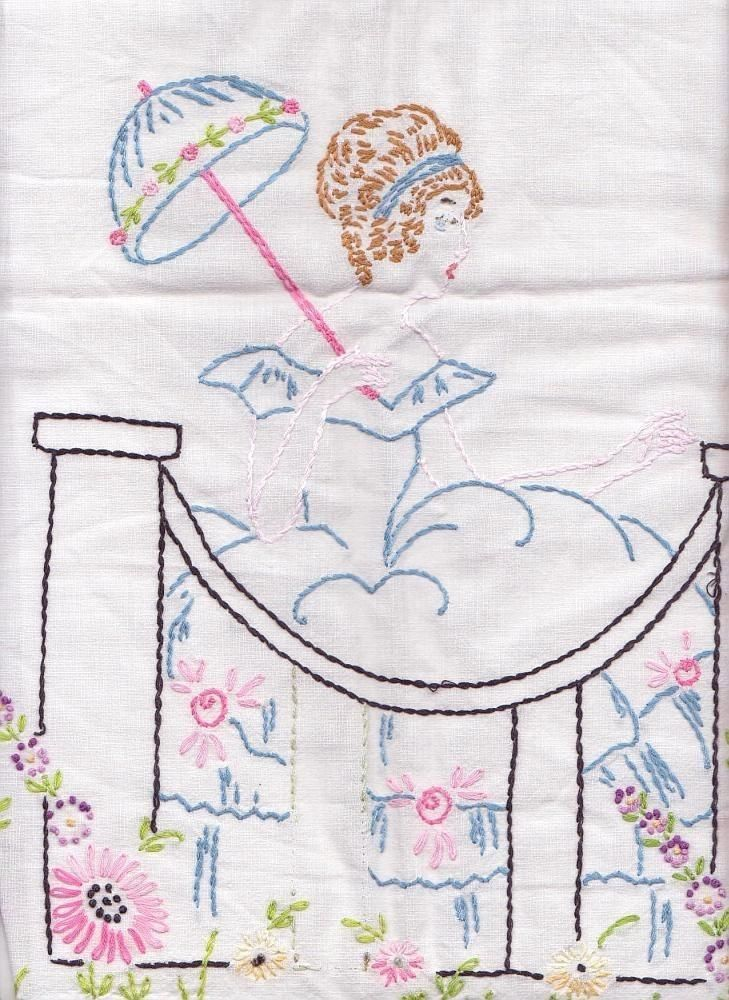 Vintage Hand Embroidered Runner Southern Belle Parasol Garden Crocheted Edge