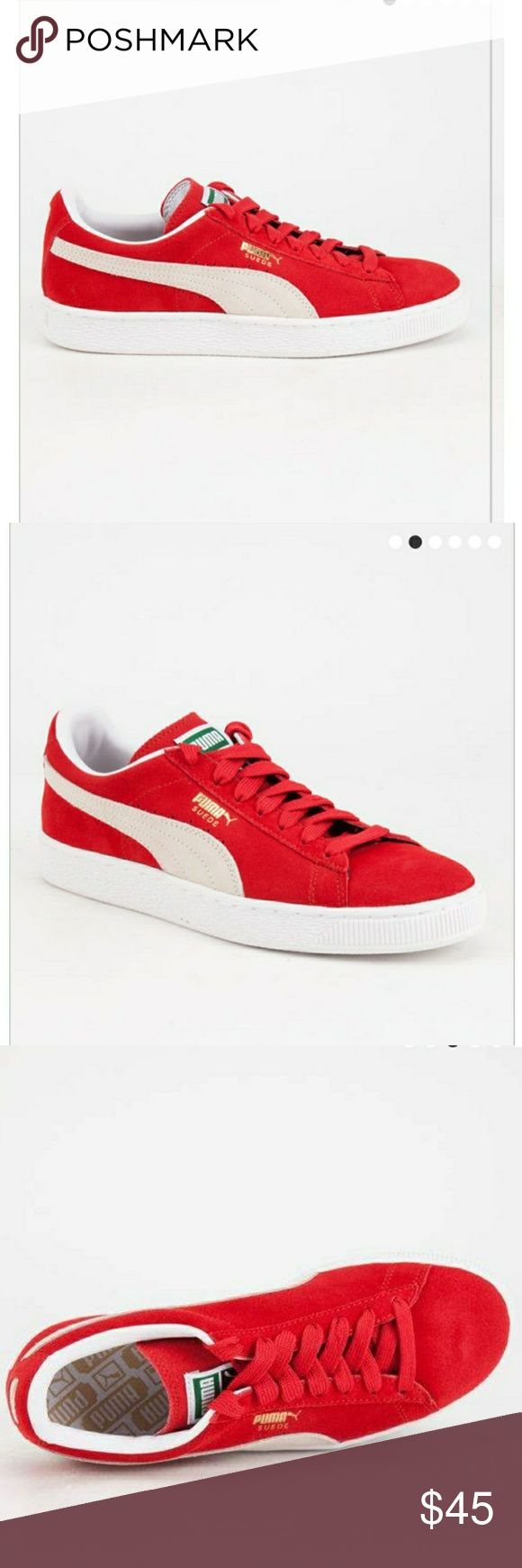 Red puma classics. Brand new still in the box.   Puma Suede Classic shoes. Suede upper with perforated detailing at midfoot. Puma Formstrip at sides. Lace closure for snug fit. Breathable EcoOrthoLite® sockliner. Woven label on tongue. Rubber outsole. Imported. Puma Shoes Sneakers