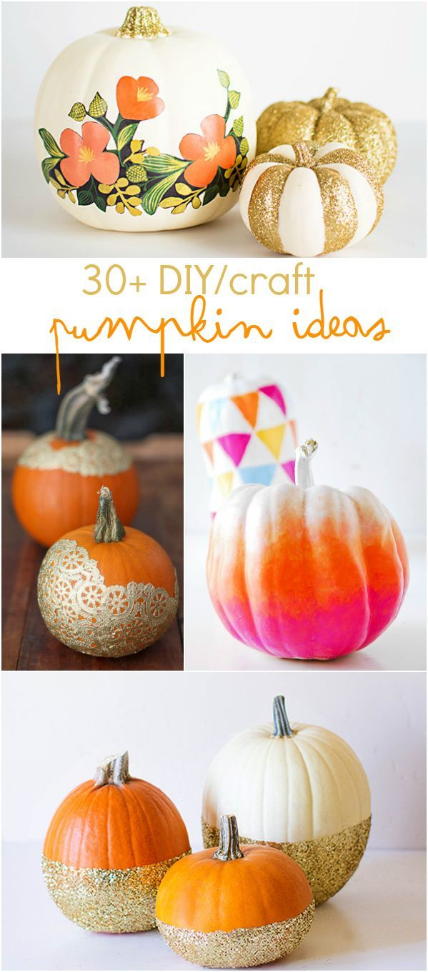 30+ DIY/craft pumpkin ideas. These will make beautiful fall decor for a mantle, table centerpiece or front porch. The glitter pumpkins are my favorite!