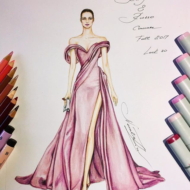 Ralph & Russo Couture Fall 2017 collection @ralphandrusso @tamararalph (@prismacolor pencils and @copicmarker @fabercastellglobal pitt artist pens on @xpress_it blending card) #handdrawn #sketch #ralphandrusso #couture #sketching #illustration #bridesmaid #иллюстрация #hautecouture #art #worldofartists #luxury #draping #silk #gown #dress #платье #event #wedding #nataliazorinliu #artist #illustrator #copicmarkers #fabercastellpitt #fashionista #clutch #follow #instafashion #model #pencils