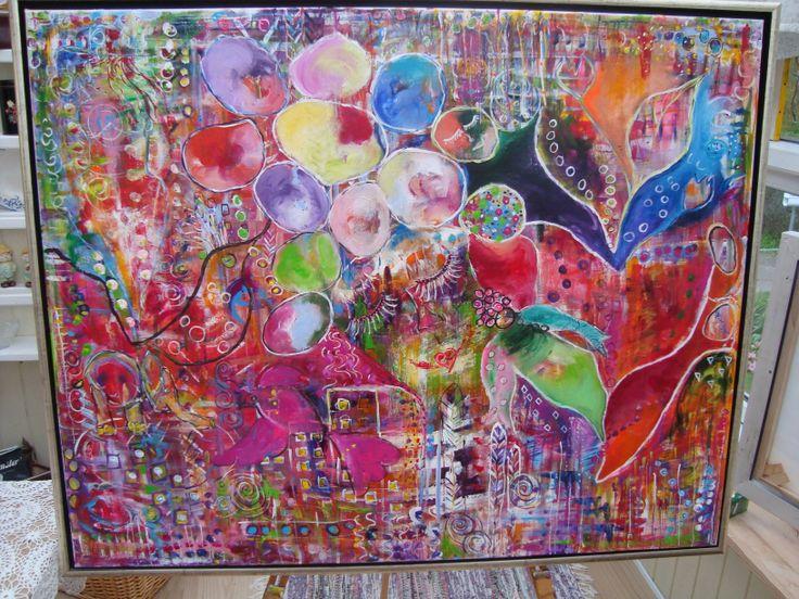 "Akryl Maleri "" Fuglen "" inspiration fra Flora Bowley ;o)"