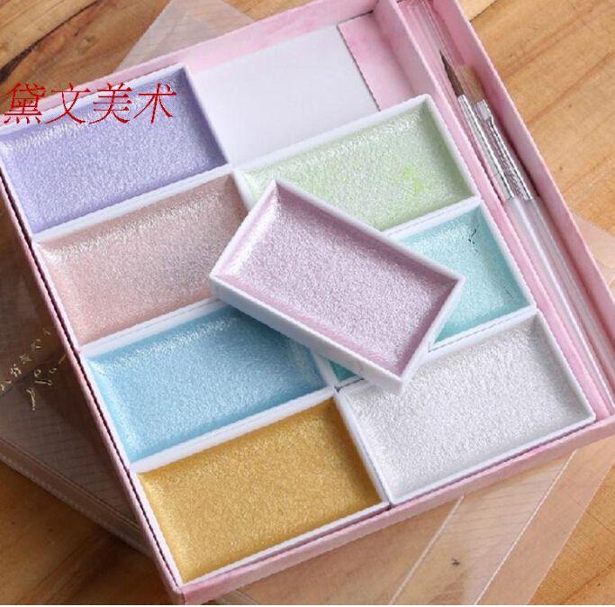 8 Colores de la Acuarela Acuarela Acuarela sólido Fino con Pintura de Color Pintura De La Perla de Agua Kit de Viaje Establecidos para Los Niños Regalo(China (Mainland))