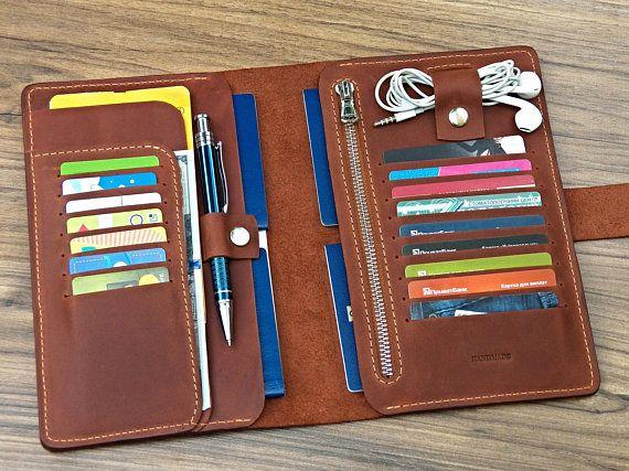 2473cd860cfa family travel wallet organizer Leather passport wallet Family travel ...