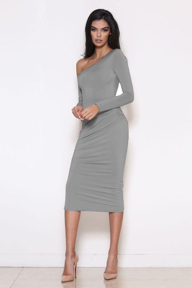 Long Sleeve Oblique Neck Knee-length Pure Color Party Bodycon Dress