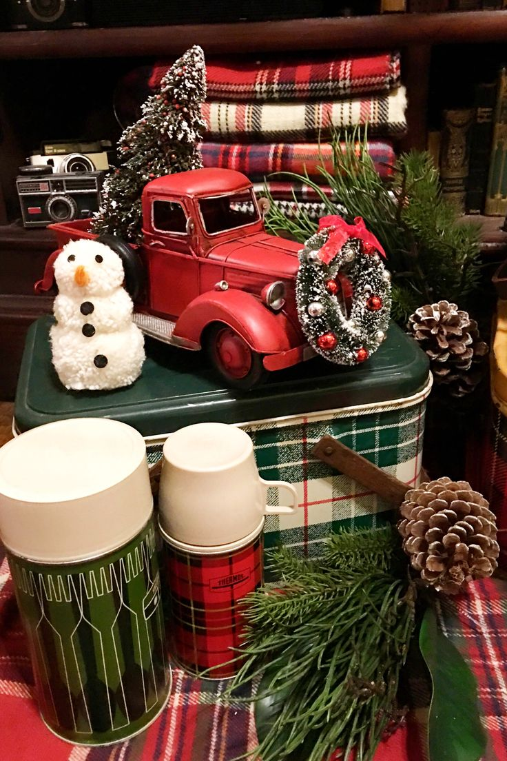 Vintage toy truck all ready for Christmas with plaid accents all around