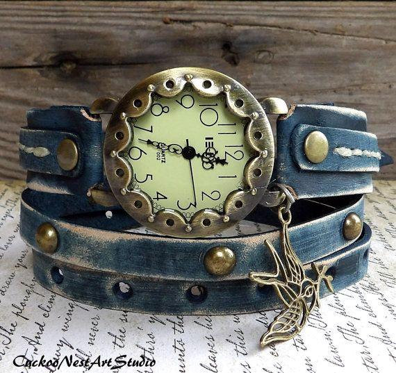Denim Blue Wrap Watch, women's watch, Leather #accessories #watch @EtsyMktgTool #watchbracelet #wristwatch #leatherwatch #watch #giftforher