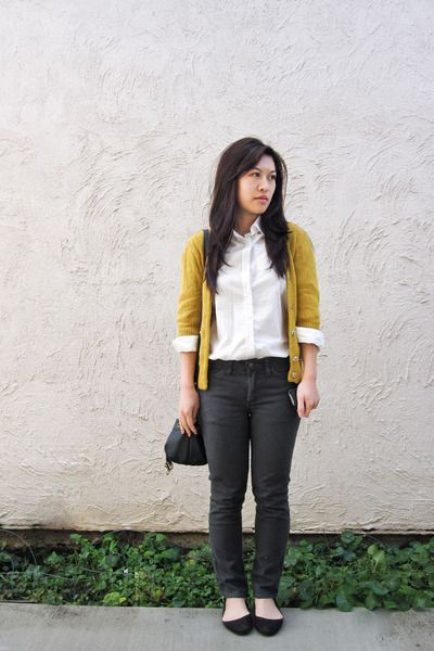 mustard Forever 21 cardigan - white H&M blouse - dark gray American Apparel…