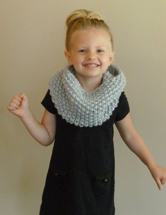 Hand Knit Toddler/Kids Cowl CHOOSE COLOR Childrens Seed Stitch Cowl, Kni...