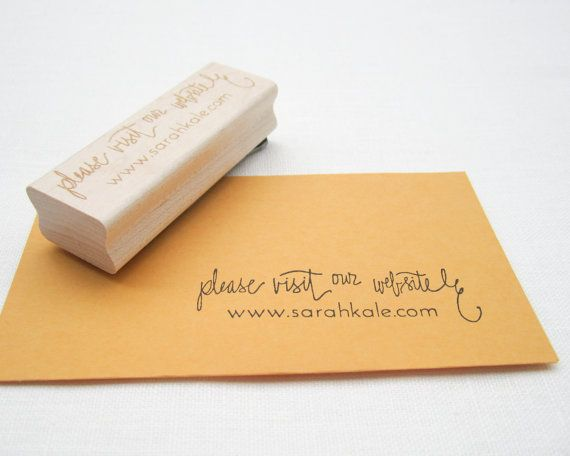 "Custom Wedding Calligraphy Stamp - Please Visit Our Website 3"" rubber stamp personalized with your wedding web site URL. $32.00, via Etsy."