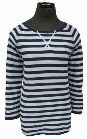 MC-3/4 sleeve striped boat neck sweater (92024A)