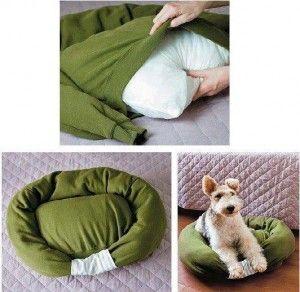 Esta idea está genial si tienes mascota y te parecen un poco caras las camas para ellas:  Para esto requerirás un suéter roto y una camisa, ambos rotos o rasgados, y una almohada. La camisa deberá estar dentro del suéter, por lo que para hacerlo más fác