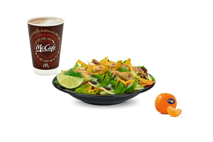 """10 Nutritionists Reveal What They'd Order At McDonald's""""I would select the Premium Southwest Salad without chicken (I'm a vegetarian), a McCafe Nonfat Medium Latte and a side order of cuties.  All of this would total to 350 calories, 70g fat, 55g carbs, 8g fiber, 35g sugar and 21g protein"""