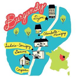 "Illustrated map - Burgundy France -""Where's the Best Boeuf?"" - WSJ Burgundy beef map"