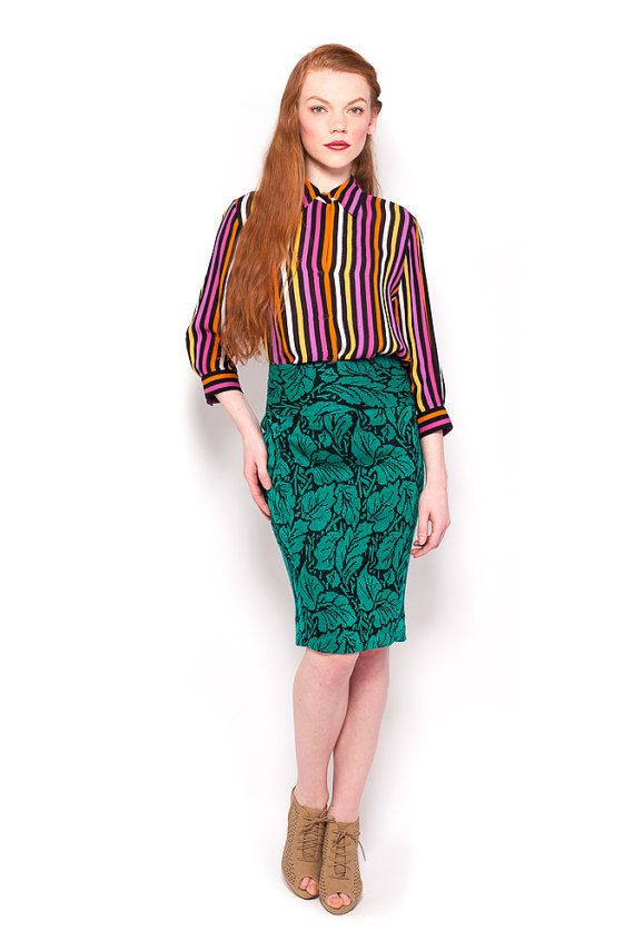 Vintage 80s Black & Emerald Leaf Pencil Wiggle Sweater Skirt by AmericanDrifter, $48.00