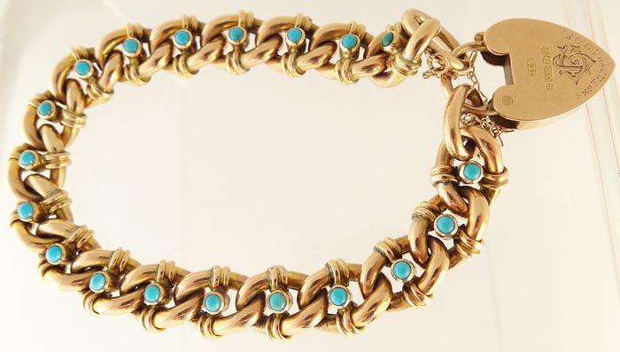 Antique edwardian link chain bracelet with lock 9k yellow for Sell jewelry birmingham al