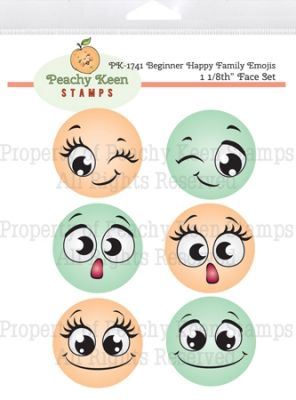 PK-1741 Beginner Happy Family Emojis - Stamps for Die Cuts and Digital SVG Cut Files