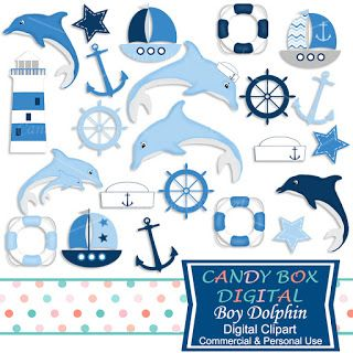 What's in the Candy Box: NEW Boy Dolphin Clip Art and Kit with papers!!