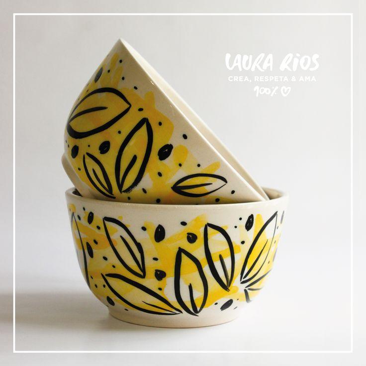 Piezas de cerámica pintadas a mano. Inspiradas en la naturaleza. LR ©