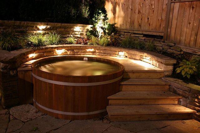 wood hot tub in evening light by Cedartubs, via Flickr
