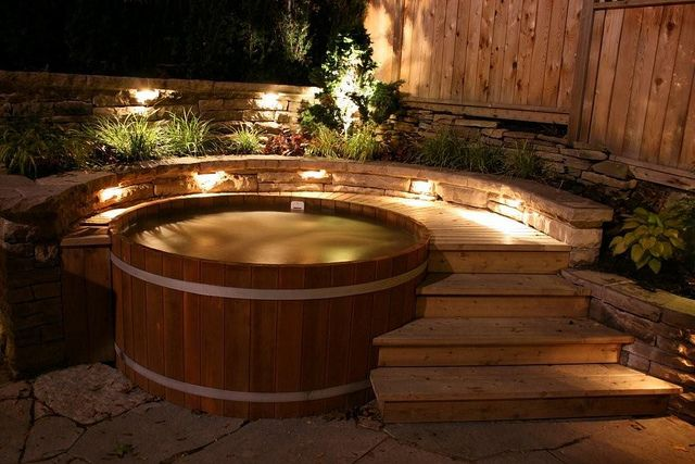 wood hot tub in evening light by Cedartubs, via Flickr